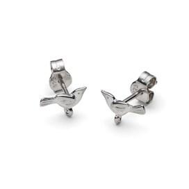 Sterling Silver Bird Earstuds with Loop (Pair)