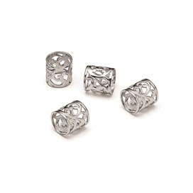 Sterling Silver Cut Out Tube Bead, 9.5x9mm