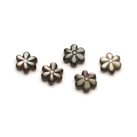 Black Lip Mother Of Pearl Flower Beads, Approx 9mm, Pack of 10 Beads