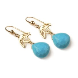 Gold Vermeil Turquoise Drop Earrings