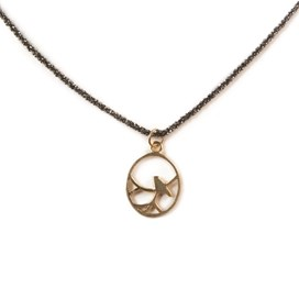 Gold Vermeil Nightingdale Black Necklace