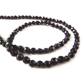 Blue Goldstone Faceted Round Beads