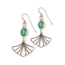 Gingko Leaf Agate Earrings