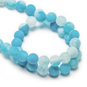 Cornflower Blue Frosted Cracked Agate Round Beads