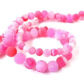 Fuchsia Pink Frosted Agate Round Beads