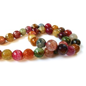 Multicoloured Agate Round Faceted  Beads
