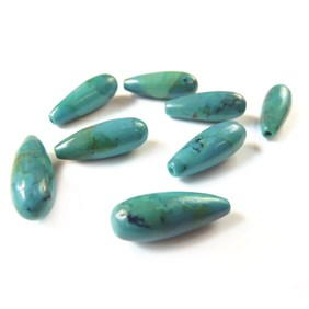 Chinese Turquoise Top Drilled Teardrop Gemstone Bead, 16x6mm