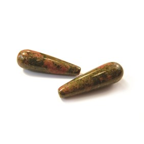 Unakite Top Drilled Teardrop Gemstone Bead