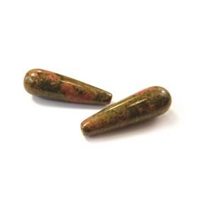 Unakite Top Drilled Teardrop Gemstone Bead
