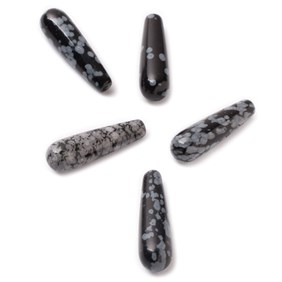 Snowflake Obsidian Top Drilled Teardrop Gemstone Beads, 20x6mm