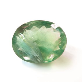 Green Fluorite 26x20mm Oval Checker Cut Faceted Stone
