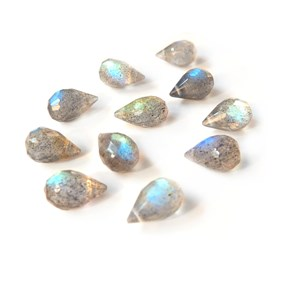Labradorite Faceted Drop Briolette Beads, Approx 8x5mm, Pack of 10 Beads