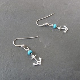 Turquoise Silver Anchor Earrings