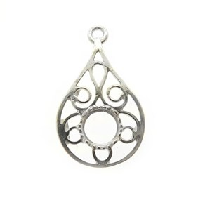 Sterling Silver Teardrop Component Setting For 6mm Round Stones