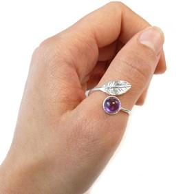 adjustable silver leaf ring