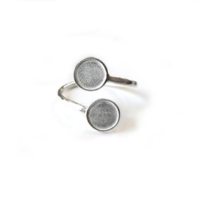 Silver Plated Adjustable Ring For 6mm Round Cabochons