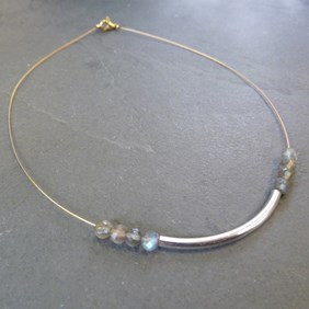 Labradorite Silver & Gold Necklace