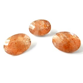 Sunstone Checker Cut 14x10mm Oval Faceted Stone