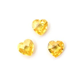 Top Drilled Checker Cut Faceted Citrine Coloured Cubic Zirconia Heart, 8mm