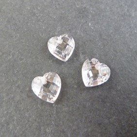 Top Drilled Checker Cut Faceted White Cubic Zirconia Hearts