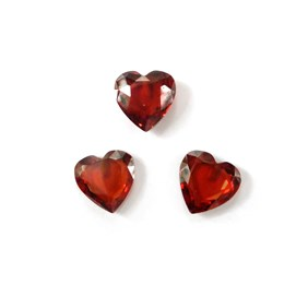 Top Drilled Faceted Red Coloured Cubic Zirconia Hearts