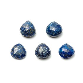Lapis Lazuli Faceted Heart Briolette Beads, Approx From 9x10mm