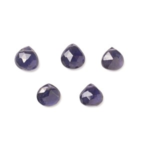 Iolite Faceted Heart Briolette Beads, Approx 7-9mm