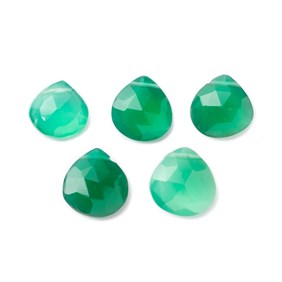 Green Onyx Faceted Heart Briolette Beads Approx From 9mm To 11mm