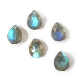 Labradorite Faceted Teardrop Briolette Beads, 7x5mm to 10x8mm