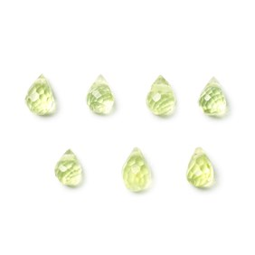 Peridot Faceted Drop Briolette Beads, Approx 5x4mm, Pack of 10 beads