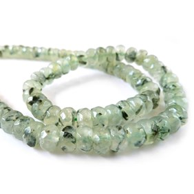 Prehnite Faceted Rondelle Beads, Approx 8x5mm