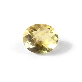 Yellow Fluorite Checker Cut 13x11mm Oval Faceted Stone