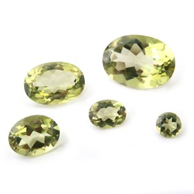 Lime Green Quartz Faceted Stones