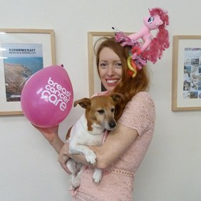 Hannah the managing director of Kernowcraft raising money for Breast Cancer Care