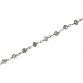 Sterling Silver Labradorite Wire Wrapped Bead Chain