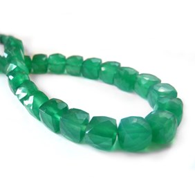 Green Agate Faceted Puffed Cube Beads, 6mm