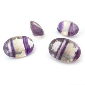 Purple Banded Fluorite 18x13mm Oval Faceted Stones