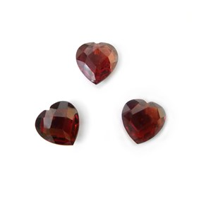 Top Drilled 8mm Checker Cut Faceted Garnet Heart