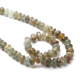 Moss Aquamarine Faceted Rondelle Beads, Approx 10x5mm