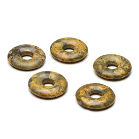 Leopardskin Rhyolite Gemstone Donuts, Approx 20mm