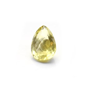 Yellow Fluorite Checker Cut 19x13mm Teardrop Faceted Stone