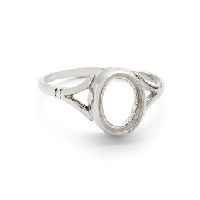 Sterling Silver Ring for 8x6mm Faceted or Cabochon Stone