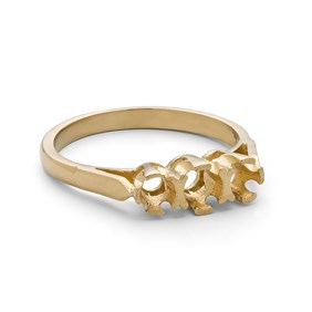 9ct Gold Ring for One 3.5mm & Two 3mm Faceted Stones