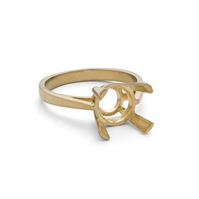 9ct Gold Ring for 8mm Round Faceted Stone