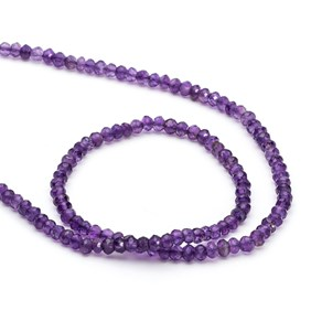 African Amethyst Faceted Rondelle Beads, From 3x2mm