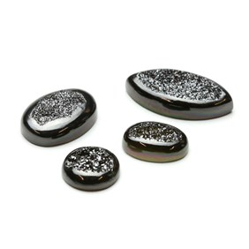 Shimmering Black Window Drusy Cabochons