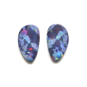 Pair of Australian Free Form Opal Doublets, Approx 15x10mm