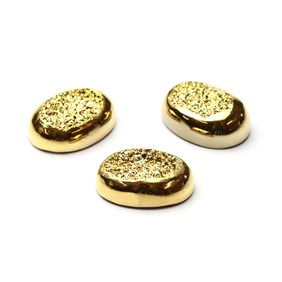 Gold Window Drusy Cabochons, Approx 14x10mm Oval