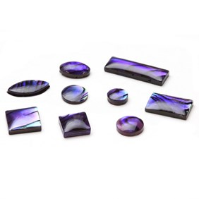 Purple Paua Shell Cabochons, Approx 8x4mm Marquise