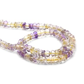 Ametrine Faceted Rondelle Beads, Approx 5x2.5mm